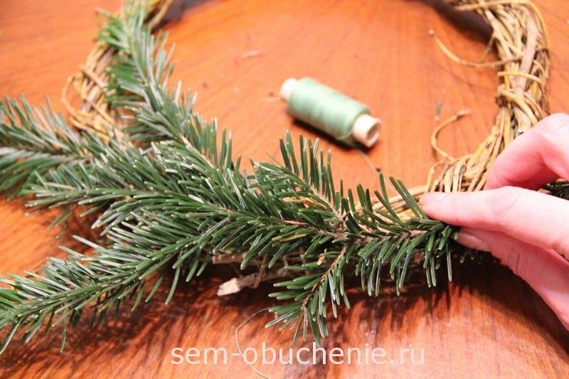 Рождественский венок из веток своими руками мастер