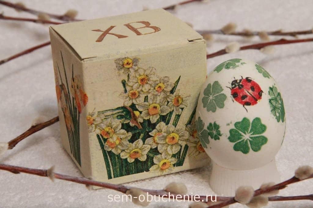 декупаж пасхального яйца и упаковки